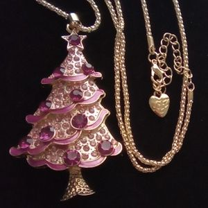 "Betsey Johnson 3"" Pink Tree Pendant Necklace."